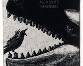 Raven artwork , Raven, crow, Whale,  Etching, Black , Blue Black  or brown ink 5 x 7 inch 2010