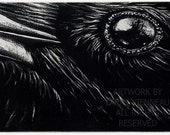Raven artwork , Raven, crow,  Etching 5 in. x 7 in. 2010-12