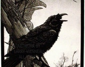 Raven artwork , Raven, Crow, Totem, raven feather,  Etching 12 inch x 21 inch 2012