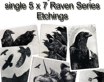 Raven collection. select any FOUR combinations of my SINGLE 5 inch by 7 inch. 30.00 off