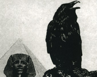Pyramid, the Great Sphinx , Egyptian, Crow  Raven artwork ,  etching, 5 inch x 7 inch 2011