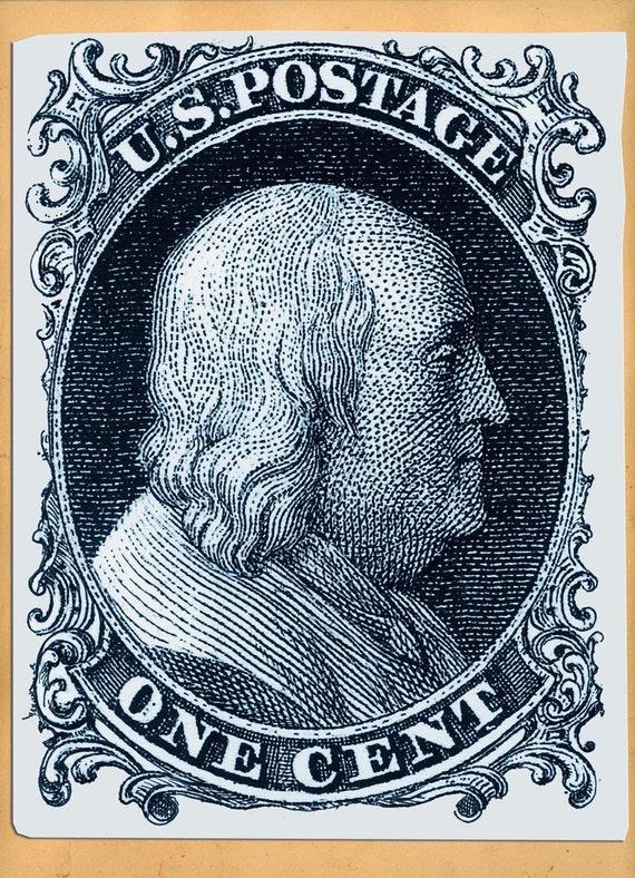 Ben Franklin, US Postage Stamp, Artwork, Etching