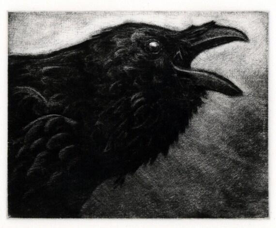 Raven artwork , Raven, crow-   Engraving, 4 x 5 inch 2012