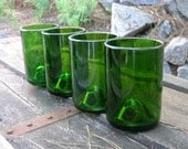 Recycled Wine Bottle Glass -- Four Green Upcycled Wine Bottle Tumblers