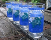 Recycled Caguama Beer Bottles ... FOUR juice size glasses with blue turtle image