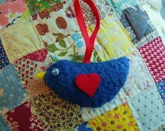 Little Blue Felted Love Bird