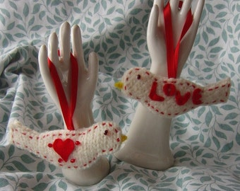 Love and Hearts Hand Felted Bird Ornaments Red and White
