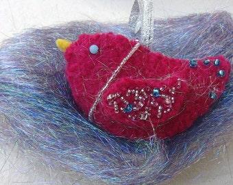 Sparkle the Hand Felted Bird Ornament