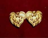 VALENTINE Gold HEART EARRINGS  clip ons