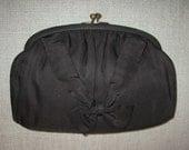 vintage Elizabeth Arden PURSE Chocolate Brown Clutch or w handle rhinestone clasp