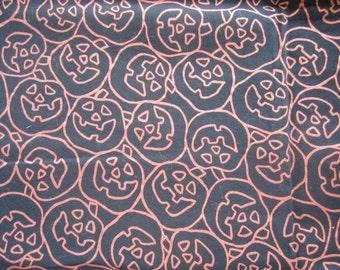 Halloween Black cotton FABRIC with Orange Glittery JACK-o-LANTERNS