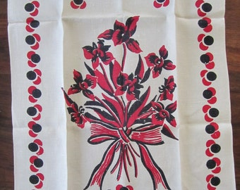 vintage NEW Linen TEA Towel White w Red and Black 30 x 17