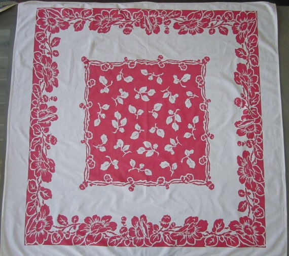 "1940s Red White TABLECLOTH Springmaid Lancaster 45"" square floral design"