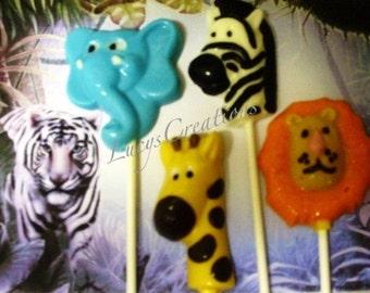 Safari Animals Chocolate Lollipops- Baby's First Birthday, Baby Shower