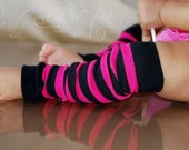 FREE SHIPPING Hot Pink and Black Striped Rugby Leggings
