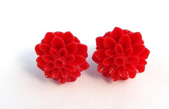 Mums Red Earrings