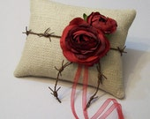 Rustic Natural Burlap Ring Bearer Pillow with Red Roses and Barbed Wire