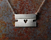 "Razorblade with Heart Necklace and 16"" Chain"