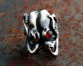 Silver Evil Octopus Ring with Garnet Eyes