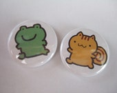 1 inch Frog and Squirrel Button/Magnet Set