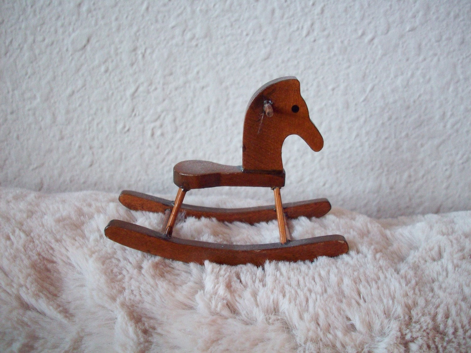 DOLL HOUSE MINIATURE WOODEN ROCKING HORSE