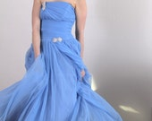 RESERVED for Priya - Vintage Blue Belle of the Ball Gown - xs
