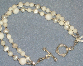 Pearl KeepSake Bracelet June Birthday  Double Strands  Fresh Water Mother of Pearl         Free Shipping in the USA
