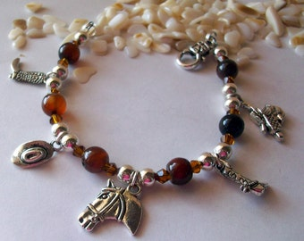 Cowgirl Charm Bracelet with Brown Agate and Silver Charms Free Shipping Free Earrings