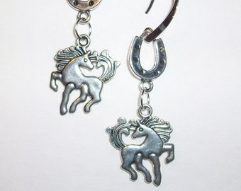 Cowgirl Earrings Horses and Horse Shoes   FREE SHIPPING USA