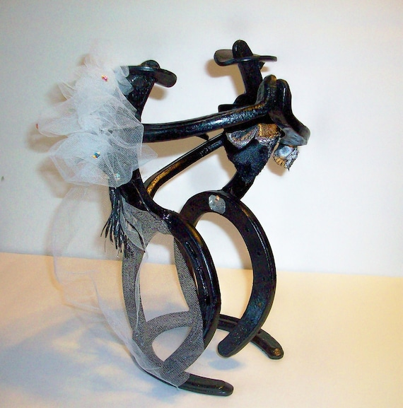 Horseshoe Cowboy Cowgirl Bride and Groom Wedding Dancers Cake Topper