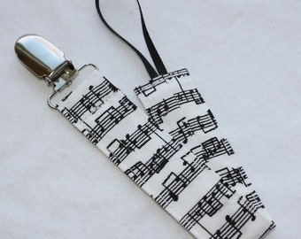 Universal Fabric Pacifier Clip -- Symphony Notes -- Soothie