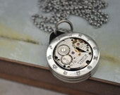 ZODIAC, surgical steel 12 sign of zodiac pendant with vintage 21 jeweled watch movement ooak