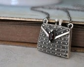 MY PETITE PURSE, vintage sterling silver purse style scent locket necklace with red garnet stone and marcasite