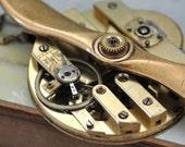 AVIATION, Aviator oversized propeller steampunk vintage brass pocket watch movement necklace