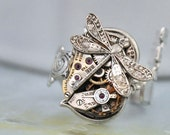 steampunk ring - Key To The Time Machine - antique silver steampunk watch movement skeleton key style ring with tiny dragonfly