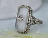 VINTAGE FIND, Art Deco sterling silver ring with pressed glass cab size 8.75