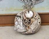 ONCE UPON a TIME steampunk vintage Elgin pocket watch movement necklace with castle and Swarovski crystal glass cab