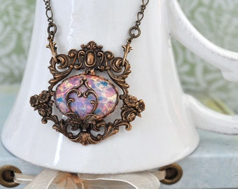 ENCHANTED FOREST,  antiqued brass Victorian style floral necklace with vintage pink opal glass cab