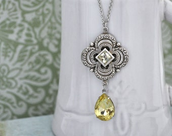 HONEY DROP,  antiqued silver Victorian style floral necklace vintage glass jewels