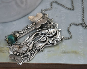 THROUGH the GARDEN WINDOW, antique silver necklace with butterfly and vintage glass jewel