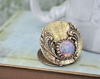 ENCHANTED vintage 70s brass locket necklace with vintage pink fire opal glass cab