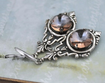 WATER DROPS, antique silver Victorian style earrings with vintage 2 tone glass cabs