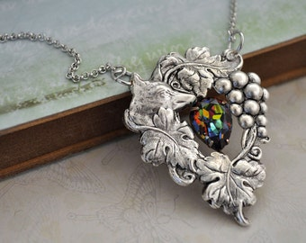 FOX AND GRAPES, antique silver Victorian style necklace with vintage Swarovski pear shaped glass jewel