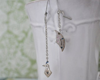 FRAGMENTS OF TIME, silver vintage pocket watch steampunk earrings with stainless steel ear wires