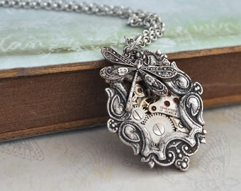 silver steampunk necklace TIME TRAVELER antique silver steampunk watch movement necklace with tiny dragonfly