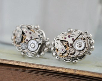 cufflinks, cuff links, silver cuff, THE TIME KEEPER, vintage jeweled watch movement cuff links steampunk