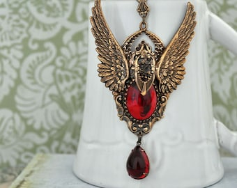 THE FALLEN, antique brass dark angel necklace with ruby red vintage glass jewels