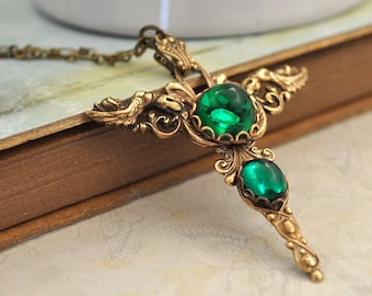 CROSS guardian angel cross pendant in antique brass with emerald color vintage glass cabs