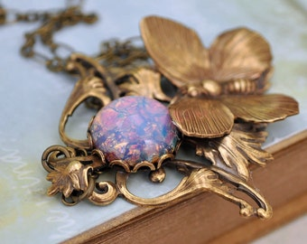 ENCHANTED FOREST,  antiqued brass Victorian style floral necklace with butterfly and vintage pink opal glass cab