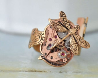 steampunk ring - KEY To The TIME MACHINE - antiqued brass watch movement skeleton key style ring with tiny dragonfly
